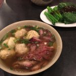 Wonton noodle soup with roast pork.