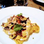 Pappardelle with roasted red pepper & radicchio - goat feta & pine nuts. Bellissima!