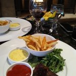 Nice presentation- sirloin a little tough- love the fries & salad. Wine was excellent.