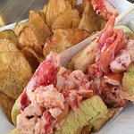 Maine lobster roll at Foster's Clambakes and Catering in York, Maine