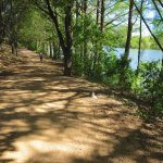 Hiking trail by hotel and riverside