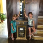 Riley and Harper loved the vintage letter drop from the original hotel.