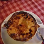 French onion soup with Manx cheese crust