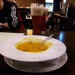 Pumkin soup and Šariš beer.