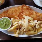 Large haddock, chips and mushy peas.