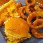 chili dog, cheeseburger and onion rings