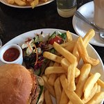 Govindas Burger and chips (suitable for vegans) & cheese burger and chips (vegetarian)