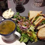 Red pepper humous sandwich with potato and leek soup