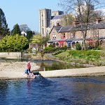 Children playing on Alma Weir by the pub , view from bridge