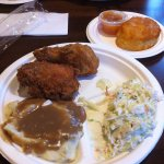 2 pc. dinner with cole slaw and mashed potatoes and biscuit with peach butter.
