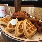 Chicken & Waffles with some coffee