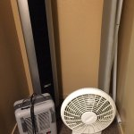 The fancy/schmancy HVAC unit. There is also a wall-mounted heater in the room next to the table