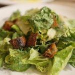 Kale and romaine caesar salad, tall tree rye crouton.