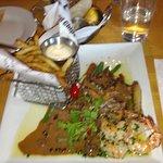 Surf & Turf - pepper steak, garlic shrimp and french fries