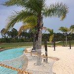 The pool has nice shade palms and hammocks.
