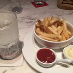 Best dual of marinade and ketchup source with perfectly fried chips and icy drink