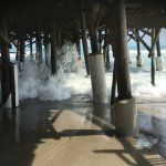 under the Pier is accessible and plenty of dry area for towels, coolers