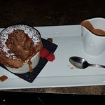 Chocolate souffle with cold chocolate anglais