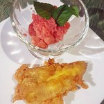 I ordered 2 desserts; fried banana and guava sorbet. Both were absolutely delicious!