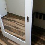 Barn style roller door with mirror