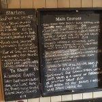 menu at Packhorse inn