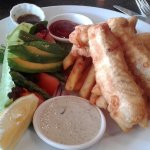 Fish and Chips with sauces and a great salad