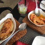 Pawns in garlic and scallop and prawn pancake