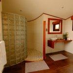 Unusual bathroom -shower behind glass screen