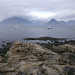 The view in Elgol village to Atlantic Ocean. A boat trip can be done here.