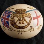 A hand painted Ostrich egg dating from the Boer War