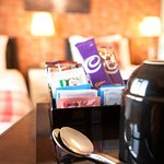 Superior rooms come with bottles of water, biscuits, hot chocolate, tea and coffee