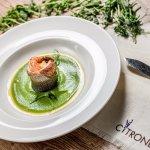 Sea bass with shrimp and green pee puree
