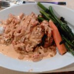 Grilled Amberjack with cream sauce and crawfish
