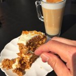 Gorgeous carrot cake and Latte