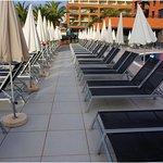 Pool area sun loungers