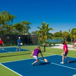 Enjoy our 12 court pickleball stadium with waterfront views.