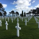American cemetery, overlooking Omaha Beach. The grave markers all face west (toward home).