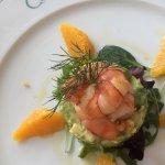 Salat mit avocado orangen und crevetten