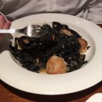 Squid ink pasta with scallops