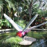 a dragonfly (Legos) in a pond