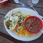 Taco Plate with Mix-Mex rice and Borracho beans