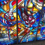Portion of stained glass exhibit in foyer