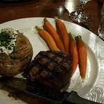 Filet Mignon and Glazed Carrots with Baked Potato...YUM YUM. Perfection right there.