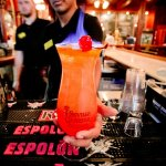 The featured drink in Rosie's is our famous Flaming Hurricane with souvenir glass.