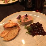 Duck liver pate and port parfait, red onion chutney, ciabatta toast. Delicious