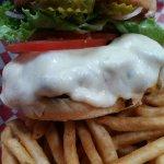 Not your Mamma's Burger +sautéed mushrooms & Beer Battered Fries - OMTASTY!