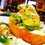 Asparagus bruschetta with whipped ricotta & pistachio