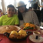 Chicken & Waffles w/ Eggs Benedict on Top! Pancake & SW Salad