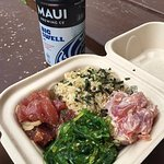 Da Poke Shack! Poke bowl comes with 2 types of Poke rice and a side