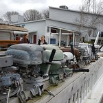 the antique outboard motors and the restaurant